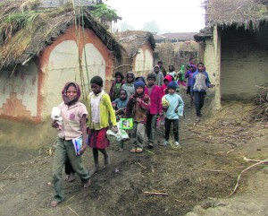 Children of Musahar community in Gadhatole, Brahmasthan head for their tuition class in this recent